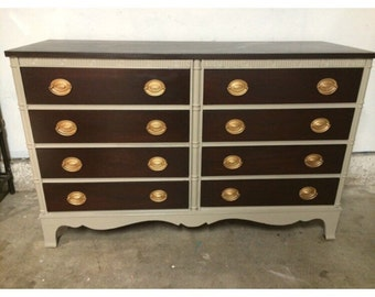 8 drawer dresser, credenza, buffet, or TV stand, Real wood, Dark Stained
