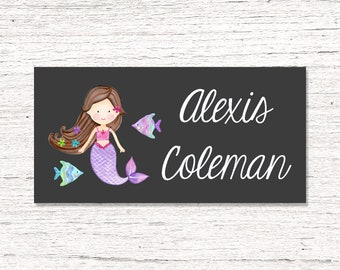 40 Waterproof Baby Bottle Labels - Dishwasher Safe - Sippy Cup Labels - Daycare School Name Labels - Mermaid 021