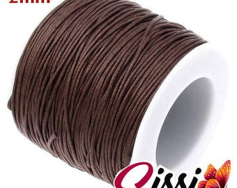 LOT 5 meter wide Brown jewel BEAD cord SISSI SCRAP 2mm WAXED cotton thread