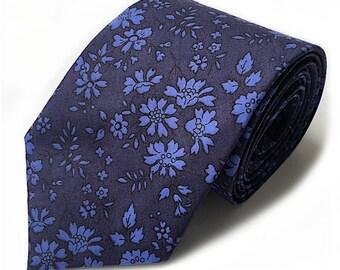 Liberty navy capel floral tie, dark blue tie, flower tie, skinny necktie, wedding tie, men's floral tie, groom's tie, Liberty of London