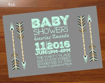 Boho Baby Shower invitation, Mint and gray baby shower,Arrow baby shower invite,Gender neutral,Tribal,personalized 4x6 printable invitation