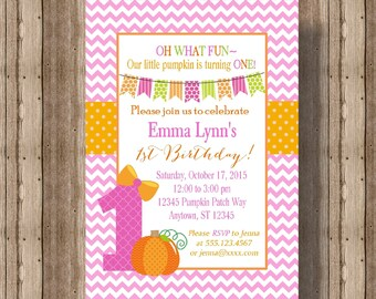 PUMPKIN FIRST BIRTHDAY Invitation for Girls / 1st Birthday Invitation for Girl Fall Pink and Orange / Cute  Pumpkin Invitation 1st Birthday