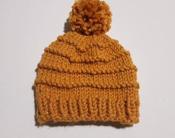 Knit Beanie with Pom Pom, Baby Beanie, Child Beanie, Adult Beanie, Winter Hat, Wool Knit Beanie - custom MADE TO ORDER