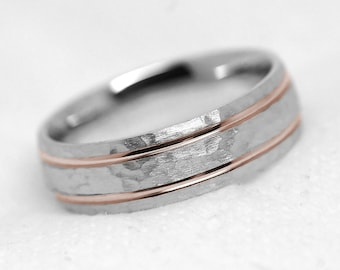 Hammered Ring, Wedding Band, Men's Ring, Engraved Rings, Two tone Gold Ring, 6mm Wedding Band, White Gold Ring, Ring for her, Matching Rings