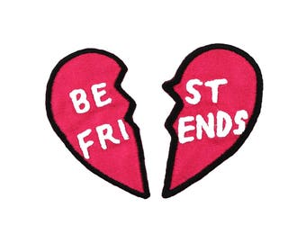 Best Friends Iron On Applique, Friendship Iron On Patch, Love Patch, Love Applique, Heart Applique, Heart Patch, Embroidered Patch