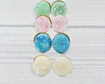 Druzy Earrings, Druzy Stud Earrings, Druzy Studs, Raw Stone Earrings, Gold Filled, Post Earrings, Blue, White, Pink, Mint, Sparkly, Crystal