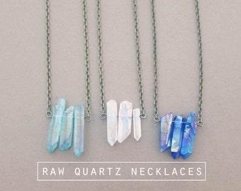 Hipster Quartz Crystal Necklace // Raw Crystal Necklace // Holographic Quartz Point Necklace // Boho Gemstone Jewelry