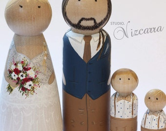 Bride and Groom peg dolls, Custom Painted Peg Doll Wedding Cake Toppers, Engagement Gift, Couple, Wooden Peg Dolls, Wedding Gift, Anniversar