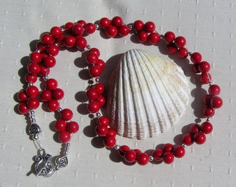 "Natural Red Coral Gemstone Chunky Beaded Necklace ""Crimson Berry"", Coral Necklace, Red Necklace, Shell Necklacet, Summer, Beach Bracelet"