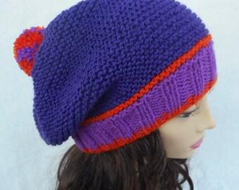 Knitting Pattern CAROLINA SLOUCHY BEANIE Knitting Pattern for Slouchy Pompom Beanie Tam in 3 Colors Knit Round