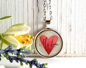 Round Medium Glass Bubble Pendant Necklace-My Love On Red Heart Book Page