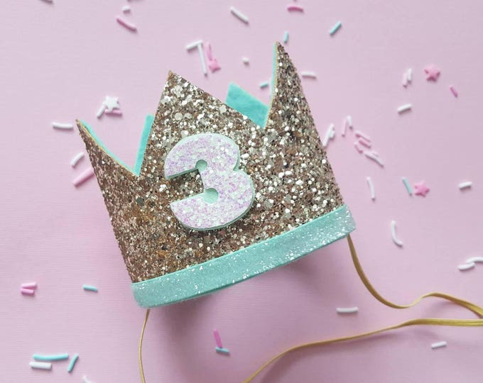 Birthday Crown || Mint and Gold Birthday || Gold Crown || Birthday Girl || 3rd Birthday || 3 Crown || Birthday Girl || third