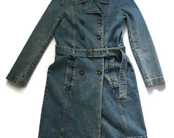 90's Women Denim Jean Long Trench Jacket Coat, Size Medium