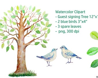 wedding clipart watercolor large guest signing tree 12 x 16 2 blue birds 3 spare leaves printable instant download set4 - Printable Bird Pictures 2