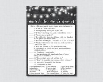 Movie Love Quote Match Game - Printable Chalkboard Bridal Shower Movie Quote Game - Rustic Chalkboard Bridal Shower Game Printable - 0005