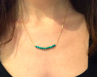 Turquoise beaded bar necklace- 14k gold filled necklace