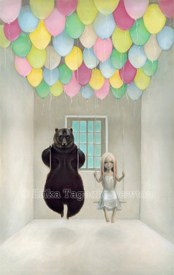 "Bear with Girl 11x17 Art, Balloon Painting, Pop Surrealism Fine Art Print,  ""Balloon-filled Room"""