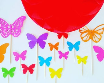 10 decorations for Cupcakes (cupcake toppers) - Rainbow - Butterflies - multicolored