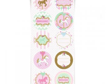 CAROUSEL PARTY CARROSSEL Round Stickers - 60 Stickers