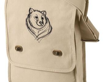 Sketchwork - Bear Embroidered Canvas Field Bag