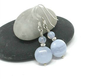 Blue Lace Agate & Sterling Silver Earrings