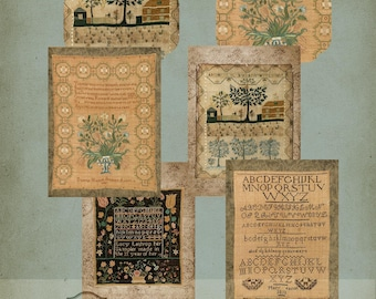 Antique Needlework Samplers Tags and Stickers