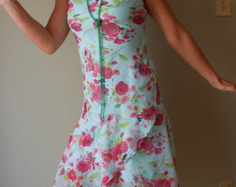 1990s Upcycled Sheer Floral Dress for Flapper Gatsby Woman's Halloween Costume Small Medium #8