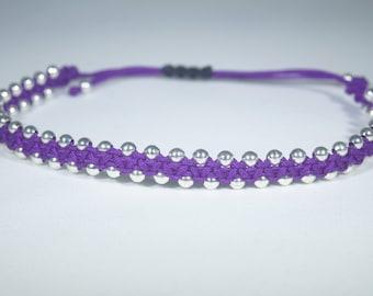 Macrame Beaded Bracelet - Purple