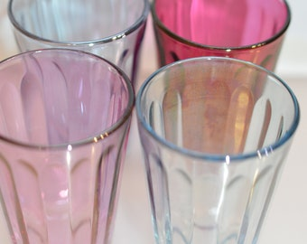 Pretty, coloured liqueur glasses