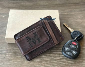 Mens Leather Money clip, Money Clip wallet, Mens Money Clip, Personalized Money clip wallet, Husband gift, Fathers day gift, Boyfriend gift