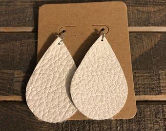 Ivory leather teardrop earrings