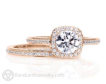 Rose Gold Moissanite Engagement Ring Wedding Set Cathedral Diamond Halo 14K 18K Gold Conflict Free Bridal Set