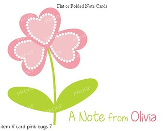 Little Girl Pink and Green Heart Flower Note Cards Set of 10 personalized flat or folded cards