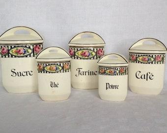 Kitchen Canisters, Canisters, Canister Set, Kitchen Canister Set, Vintage Canisters, French Canister Set, Vintage, French, Kitchen Decor
