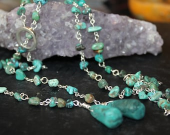 Lariat Necklace,Turquoise Chips beads, Silver Metal