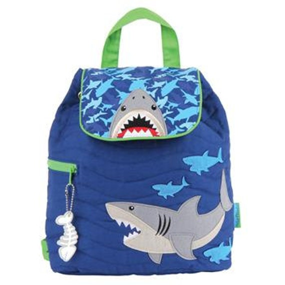 Quilted SHARK Backpack, Personalized Stephen Joseph Toddler Backpack, Kids Backpack Shark, Children's Backpack, Ocean.