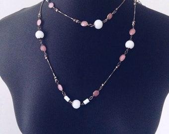 Long Bronze Gold Beaded Necklace Statement Necklace Grecian Bridesmaid Charm Pendant Trio Layer Amethyst Quartz