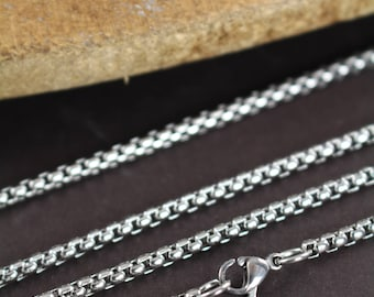 Silver Necklace Stainless Steel Chain with Lobster Clasp , 2.5 mm Thickness , 18 20 22 24 inches
