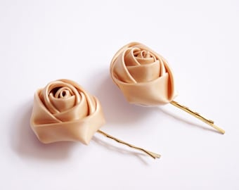 Camel,  Beige Satin Rose, Wedding Bobby Pin, Hair Accessories
