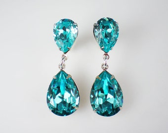 3 Pairs of Rhinestone Earrings Light Turquoise  Dangle Earrings Aqua Teal Wedding Jewelry Bridesmaid Jewelry MADE TO ORDER