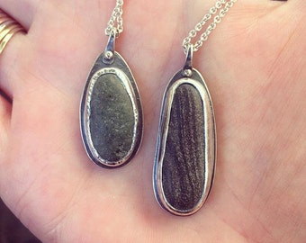All Profits Donated - Beach Stone Necklace in Sterling Silver - Ready to Ship
