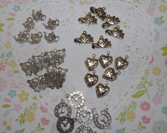 Set of 30 charms tea pot hat clock butterfly strawberries