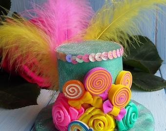 Mini Hat , Mini Top Hat , Mad Hatter Hat , Mint Pink Yellow Top Hat Fascinator , Alice in Wonderland , Tea Party Hat , Birthday Mini Top Hat