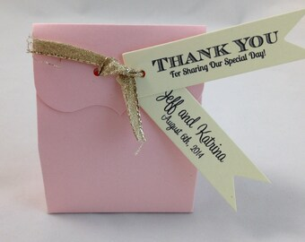 Thank You for Sharing Our Special Day Pennant Flag Wedding Favor Tags - Cream Ivory Personalized Tags