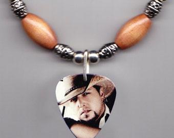 Jason Aldean Photo Guitar Pick Necklace - Light Brown Beads