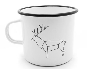 WILD DEER Enamel Mug Camping Travel White Gift Birthday Adventure Drawing Picture Liptov Handmade