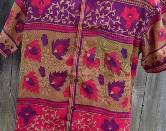 Men's Handmade Sari Silk Button Down, Lined Short Sleeve Dress Shirt - Pink, Purple, Tan Floral Stripe Panel - Size Small - Jarlath  I965