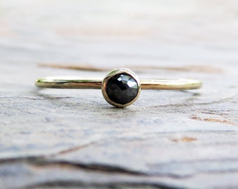 3mm Tiny Rose Cut Black Diamond Ring - Solid 14k Yellow or Rose Gold Diamond Solitaire Promise Ring in Choice of Smooth or Hammered Band