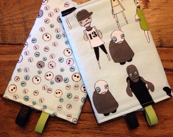 Reversible Zombies Blue Grey Green Drool Pads for Lillebaby, Tula, Ergo, Beco, Babyhawk and more with toy loops accessories