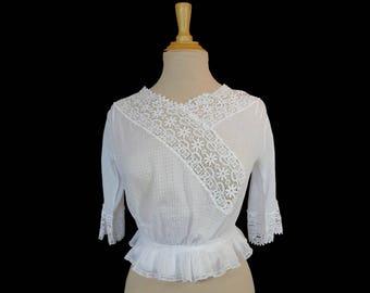 Antique Clothing - Antique Blouse - Edwardian Vintage Lace Blouse - 1910s - Bust 81 cm